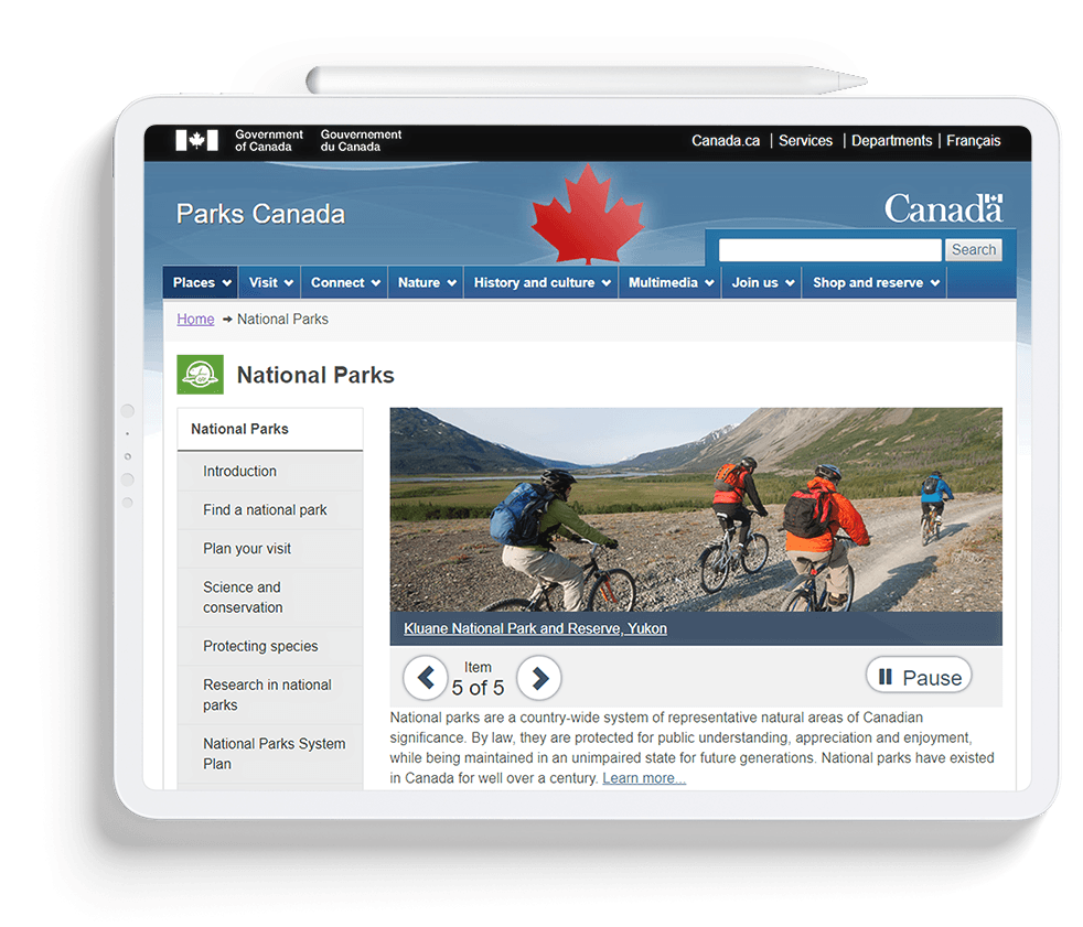 Parks Canada Tablet
